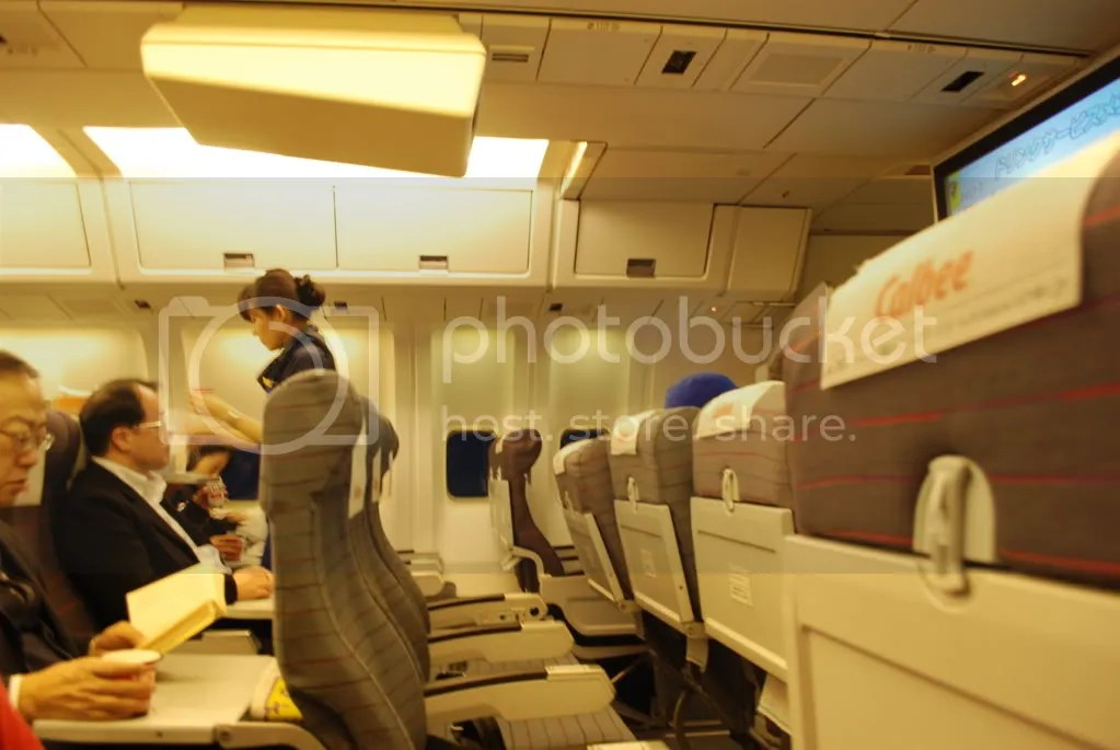In the airplane. We flew with a discount airline called Airdo.