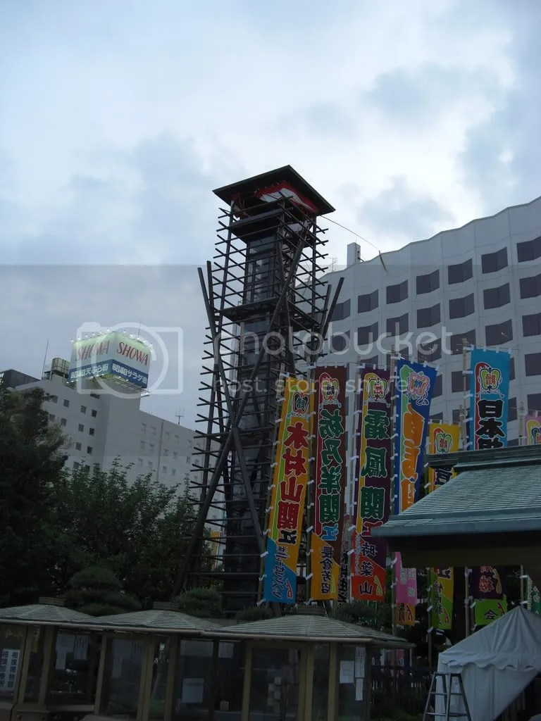 From this wooden tower the sound of a traditional Japanese drum was announcing the beginning of the tournament