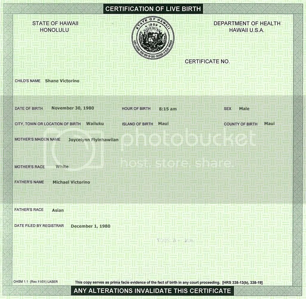Blank Hawaii Birth Certificate Available