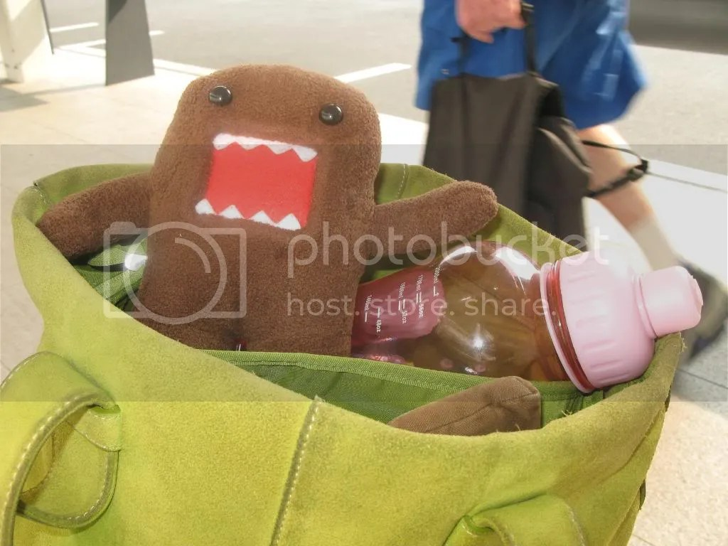 Domokuns Essentials For Travelling : HUGE water bottle & my best NZ$300 buy: Apple green suede Ecco bag. [After this photo was taken some Aussie guy saw me and Domokun and he said Oh look, shes got a BAAAAYYYBEEE]