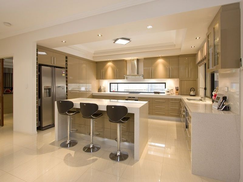 Modern Open Plan Kitchen Design Using Polished Concrete