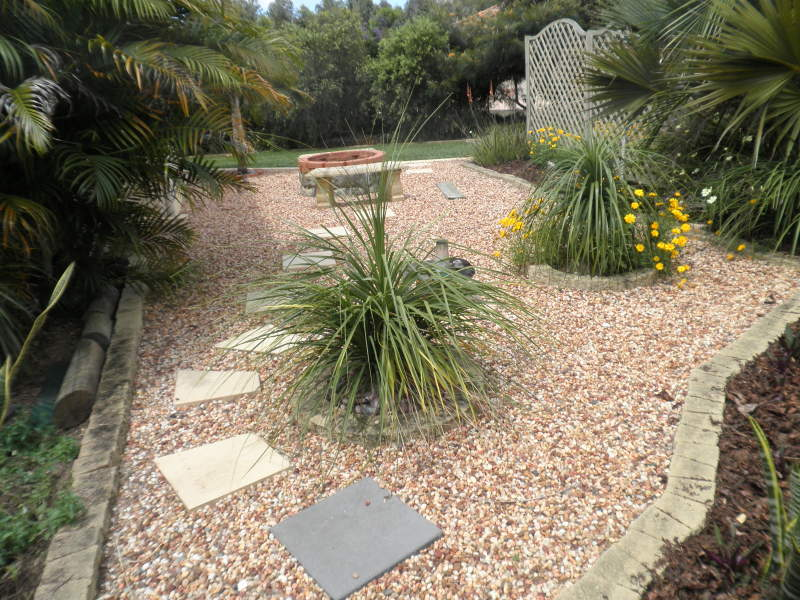 Landscaped garden design using pebbles with vegetable ... on Backyard Pebbles Design id=68054