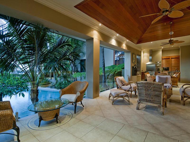 Indoor-outdoor outdoor living design with pool ... on Fancy Outdoor Living id=86008
