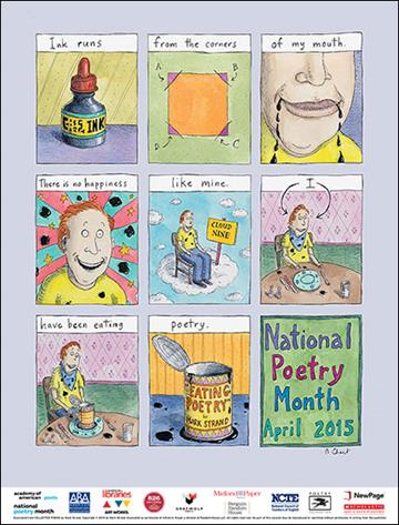 New Yorker cartoonist Roz Chast's design for the poster for National Poetry Month 2015