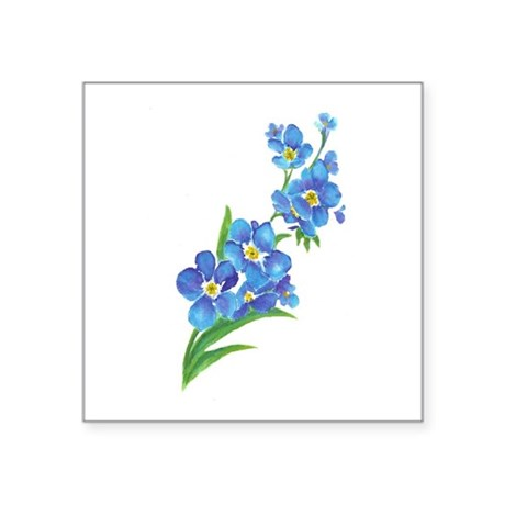 Forget Me Not Gifts   CafePress Forget Me Not Flower Watercolor Painting Sticker