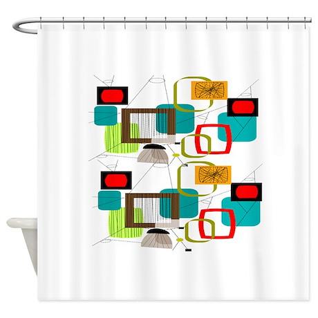 Mid Century Modern Shower Curtains Mid Century Modern Fabric Shower Curtain Liner