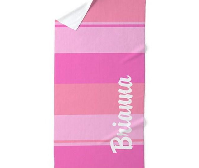 Bold Pink Stripes Beach Towel