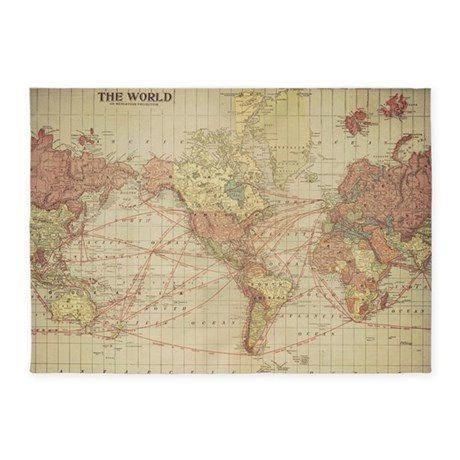 Vintage world map 5'x7'Area Rug
