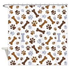 Dog Paw Prints and bone Pattern Shower Curtain