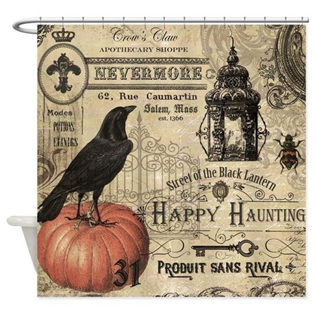 Modern Vintage Halloween Shower Curtain By DesignsbyHeatherMyers1