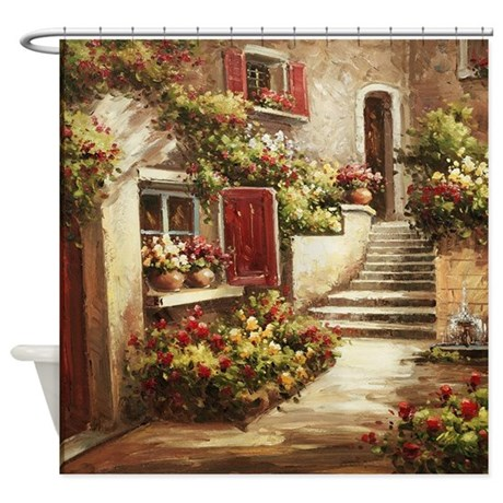 Tuscan Courtyard Shower Curtain By Ethnocentric