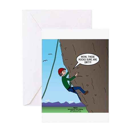 Rock Climbing Cartoons Greeting Cards   CafePress Natural Rock Face Climbing Greeting Card