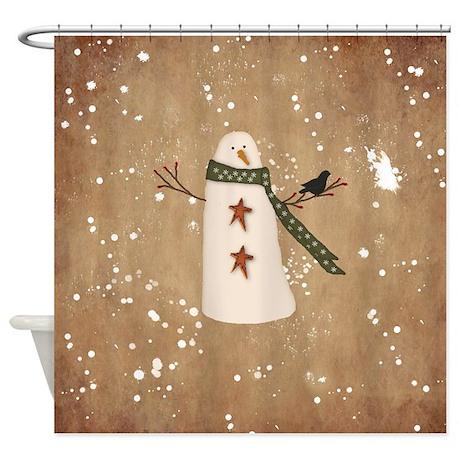 Primitive Snowman Shower Curtain By Mousefx