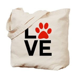 Love Dogs / Cats Pawprints Tote Bag  The letters / word LOVE with a paw-print graphic for the letter O. Great for Dog lovers and Cat Lovers.