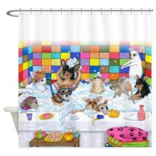 Dog 121 Chihuahua bath time fun Shower Curtains. This is an image from Art by Lucie original paintings.
