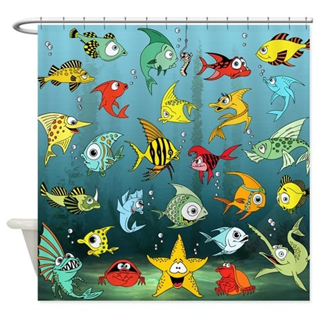 Cartoon Fish Underwater Shower Curtain. Cute fish cartoons under the blue sea underwater. Cute and colorful fishes in blue yellow green red. Underwater graphic illustration