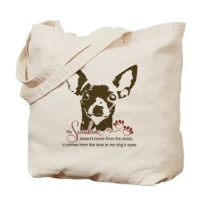 Chihuahua Dog My Sunshine Tote Bag  My sunshine doesn't come from the skies, it comes from the love in my dog's eyes poem. Chihuahua lovers and owners. Chihuahua dog breed face graphic drawing as a vector with paw-print hearts.