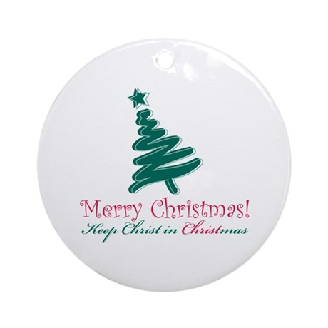 Merry Christmas Tree Ornament Round By DavetDesigns