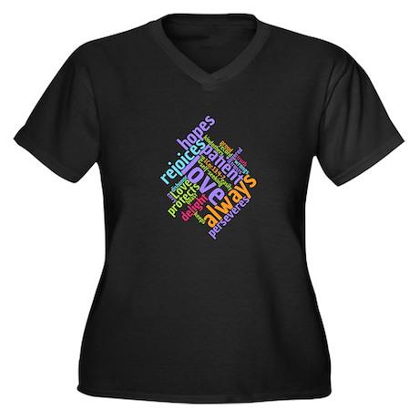 Love Never Women's Plus Size V-Neck T-Shirt