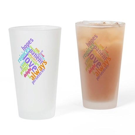 LOVE IS PATIENT VERSE DRINKING GLASS