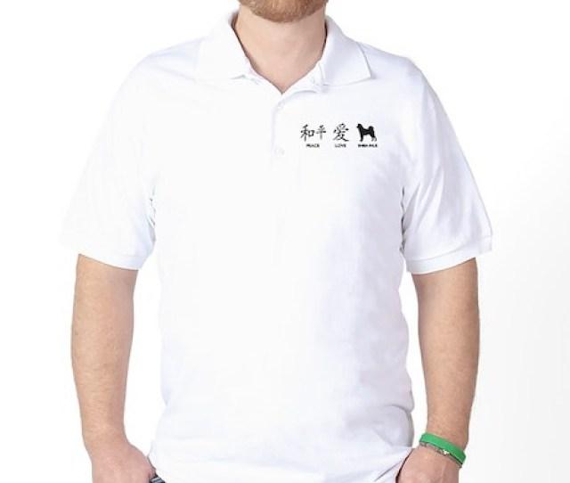 Japanese Peace Love Shibas Golf Shirt
