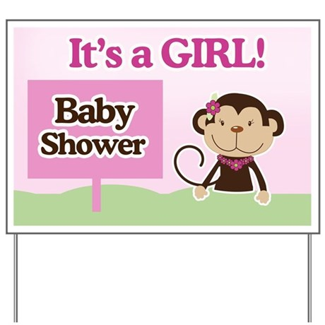 Its A Girl Monkey Baby Shower Yard Sign By Artbyjessie