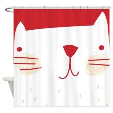 Kitty Cat Face white and red Shower Curtain