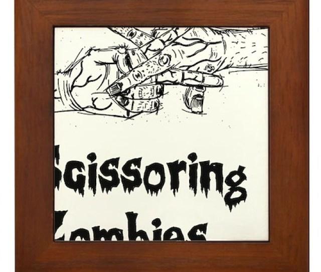 Scissoring Zombies  Framed Tile