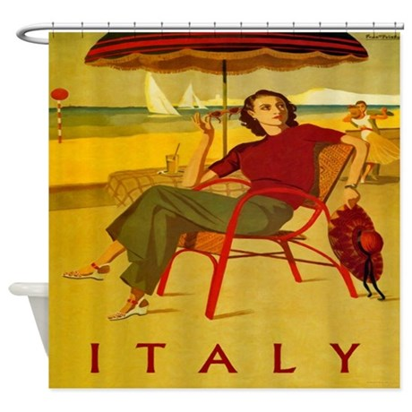 Vintage Italy Beach Poster Shower Curtain By Rebeccakorpita