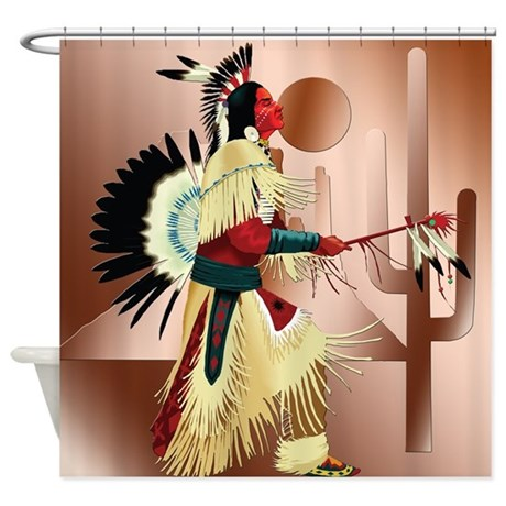 Native American Warrior With Cactus Shower Curtain By Cultper