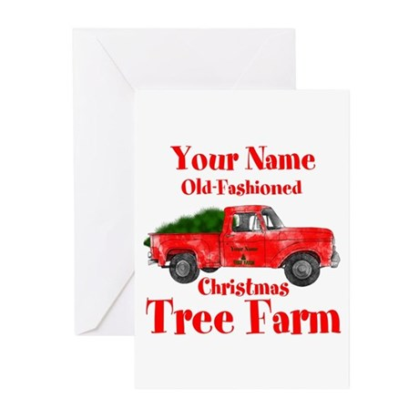 Christmas Tree On Old Pickup Truck Greeting Cards Card