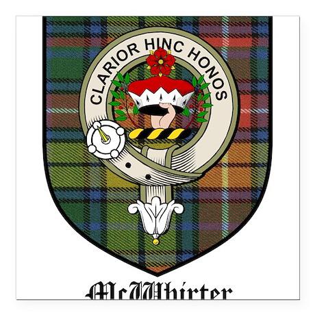McWhirter Clan Crest Tartan Square Car Magnet 3 X By