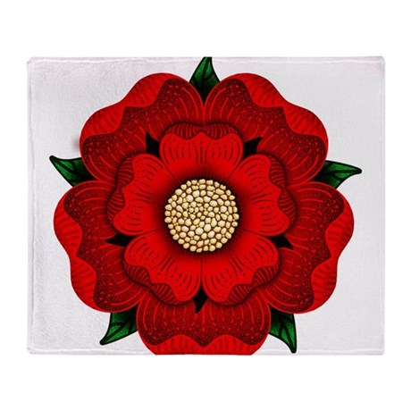 Red Rose Of Lancaster Throw Blanket by opheliasart002