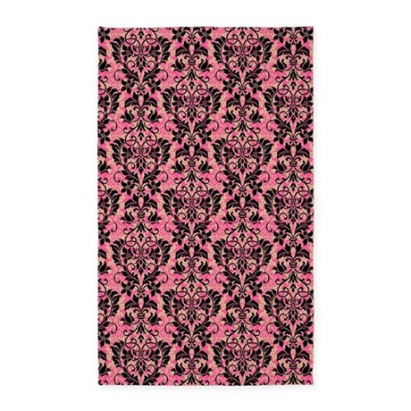 Pink And Black Damask 3x5 Area Rug By GlamourGirls2