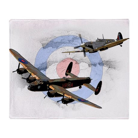 Spitfire and Lancaster Throw Blanket by coolcarTshirts