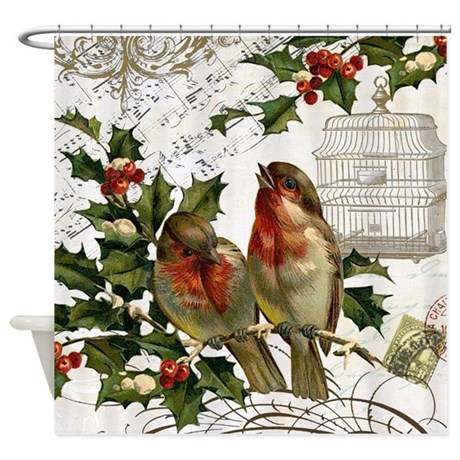 Vintage French Christmas Birds And Birdcage Shower By