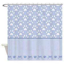 Stripes And Paws - Blue Shower Curtain