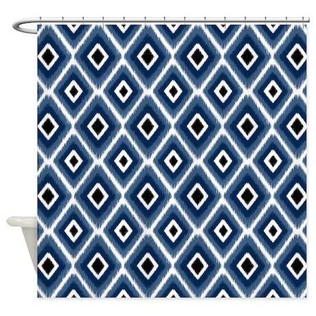 Navy Blue Ikat Diamond Pattern Shower Curtain By Doodlesdesign
