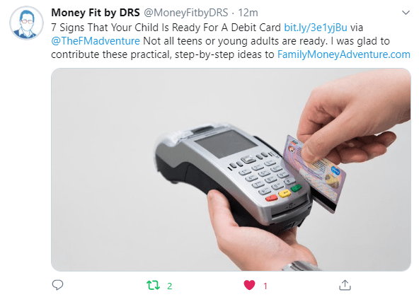 Tweet from MoneyFit by DRS