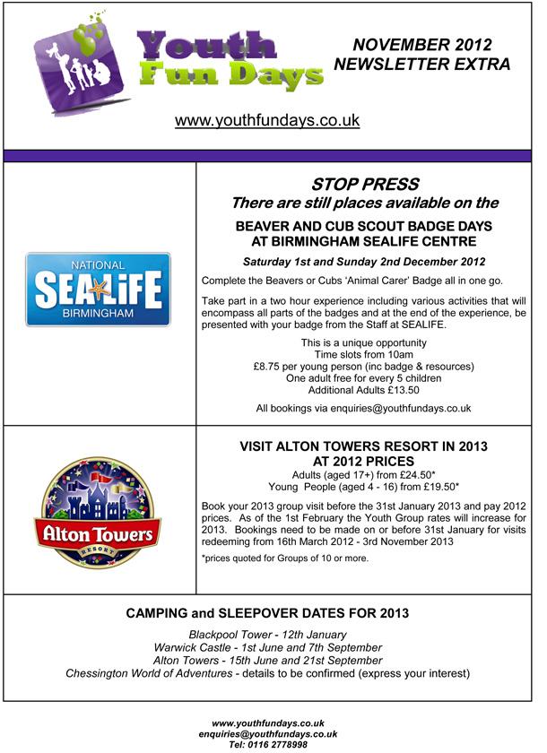 November 2012 news from www.youthfundays.co.uk
