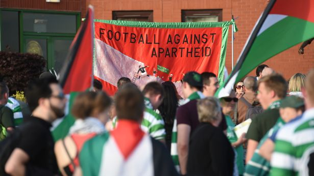 'Football against apartheid' was displayed across flags