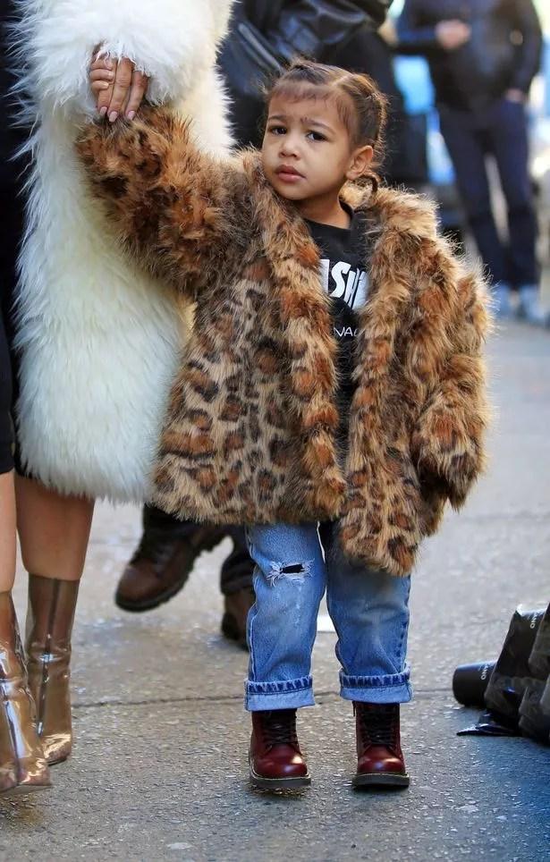 Kim Kardashian And North Wear Matching Fur Jackets On
