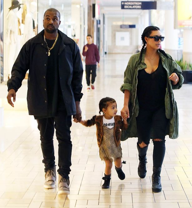 Kim Kardashian and Kanye West with daughter North West at the Westfield Mall in Culver City, California