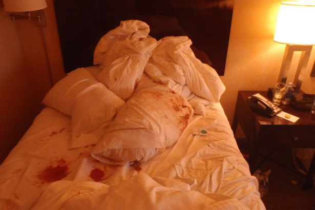 This image purportedly shows blood on the bedsheets the morning after the incident