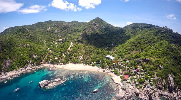 An aerial view of Tanote Bay in Koh Tao where a pretty backpacker was found dead on April 27