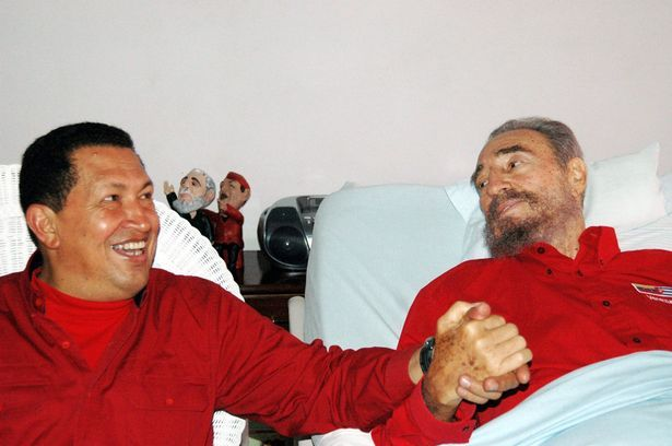 Venezuela's President Hugo Chavez visits his Cuban counterpart Fidel Castro in Havana in this August 13, 2006