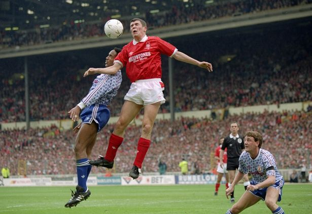 Roy Keane of Nottingham Forest and Paul Ince of Manchester United challenge for the ball during the Rumbelows Cup final against Nottingham Forest at Wembley in 1992