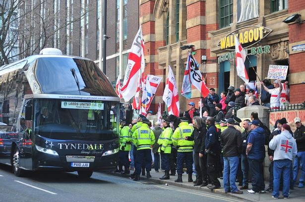 The English Defence League held a rally in Manchester city centre at the town hall, after gathering at Walkabout