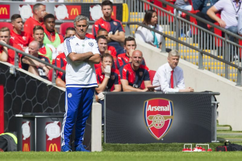 Jose Mourinho in front of the Arsenal dug out
