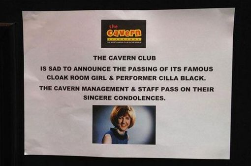 The Cavern Club's Cilla Black Sign